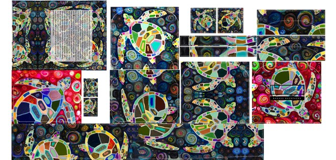 Sea Turtle - print fabric layout - Original artwork by Eli Halpin