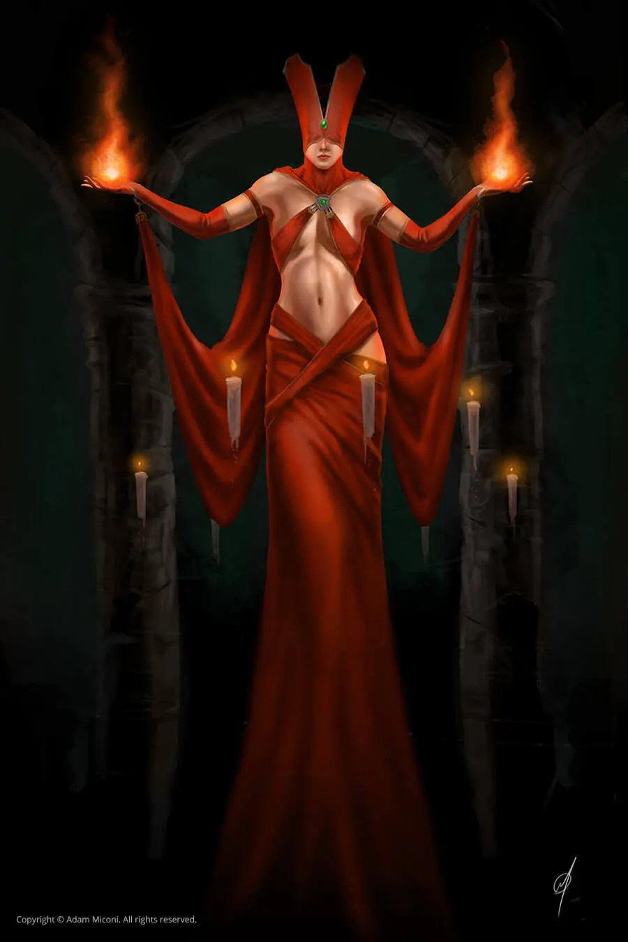 Poster Red Red Sorceress Poster Adam Miconi Artwork