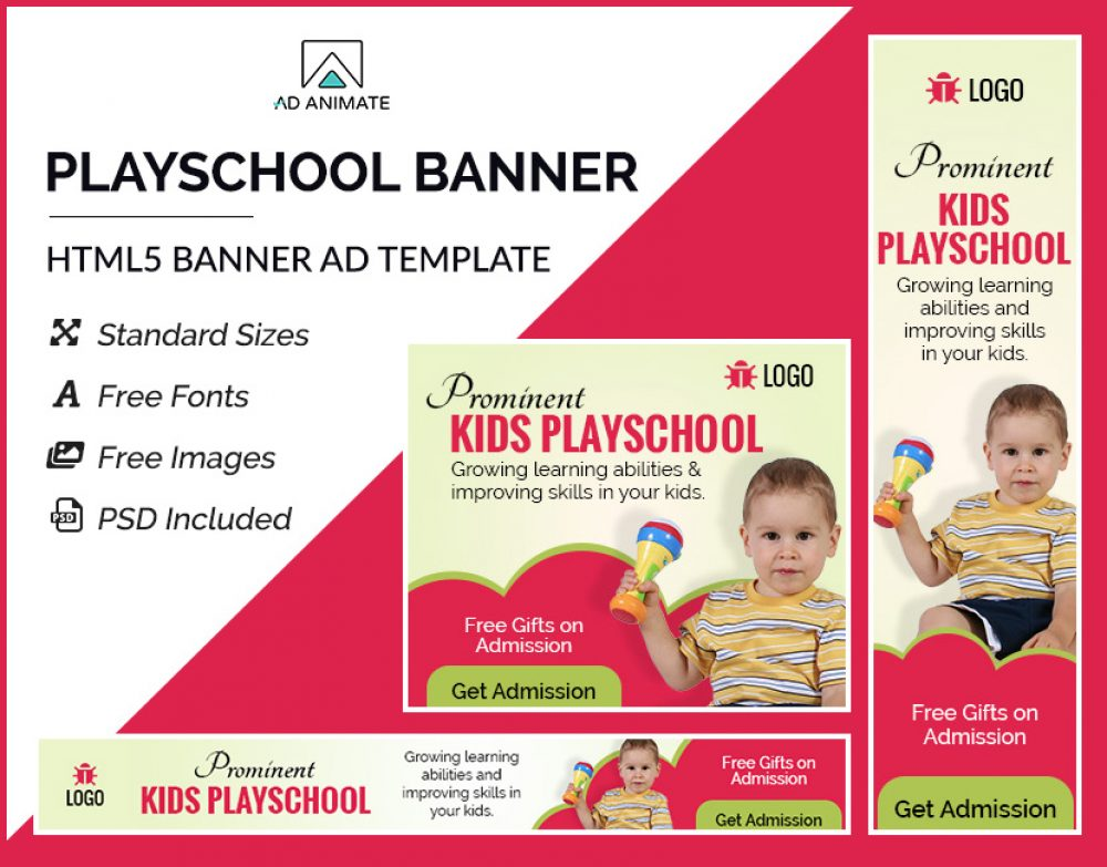 Playschool Banner (EI002) Kindergarten school banners Education ads