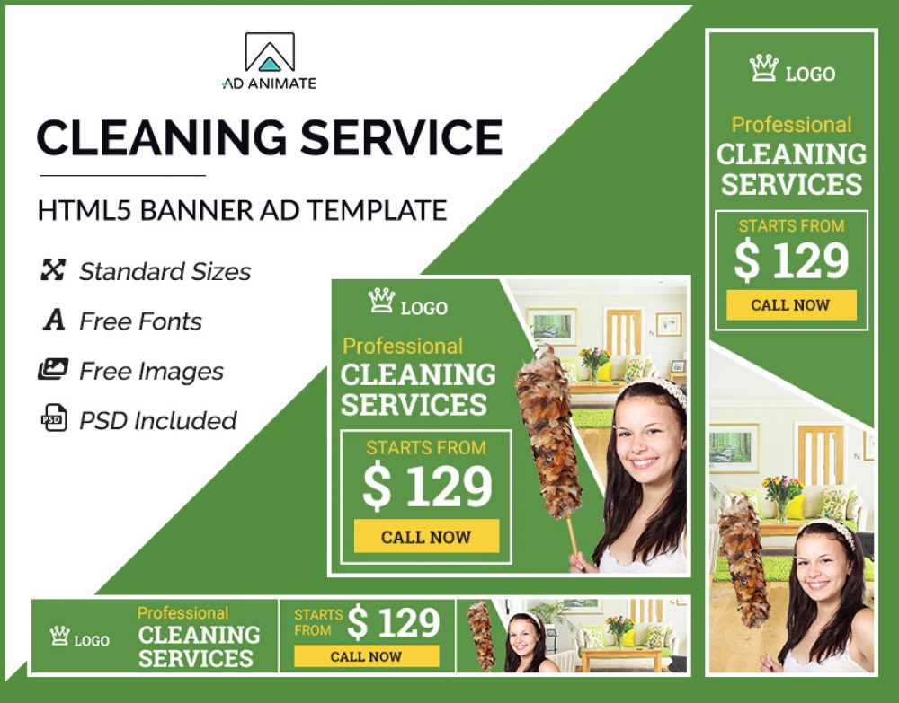 Cleaning Service Banner (PS005) AdAnimate
