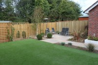 Contemporary Patio and Artificial Lawn in Romsey ...
