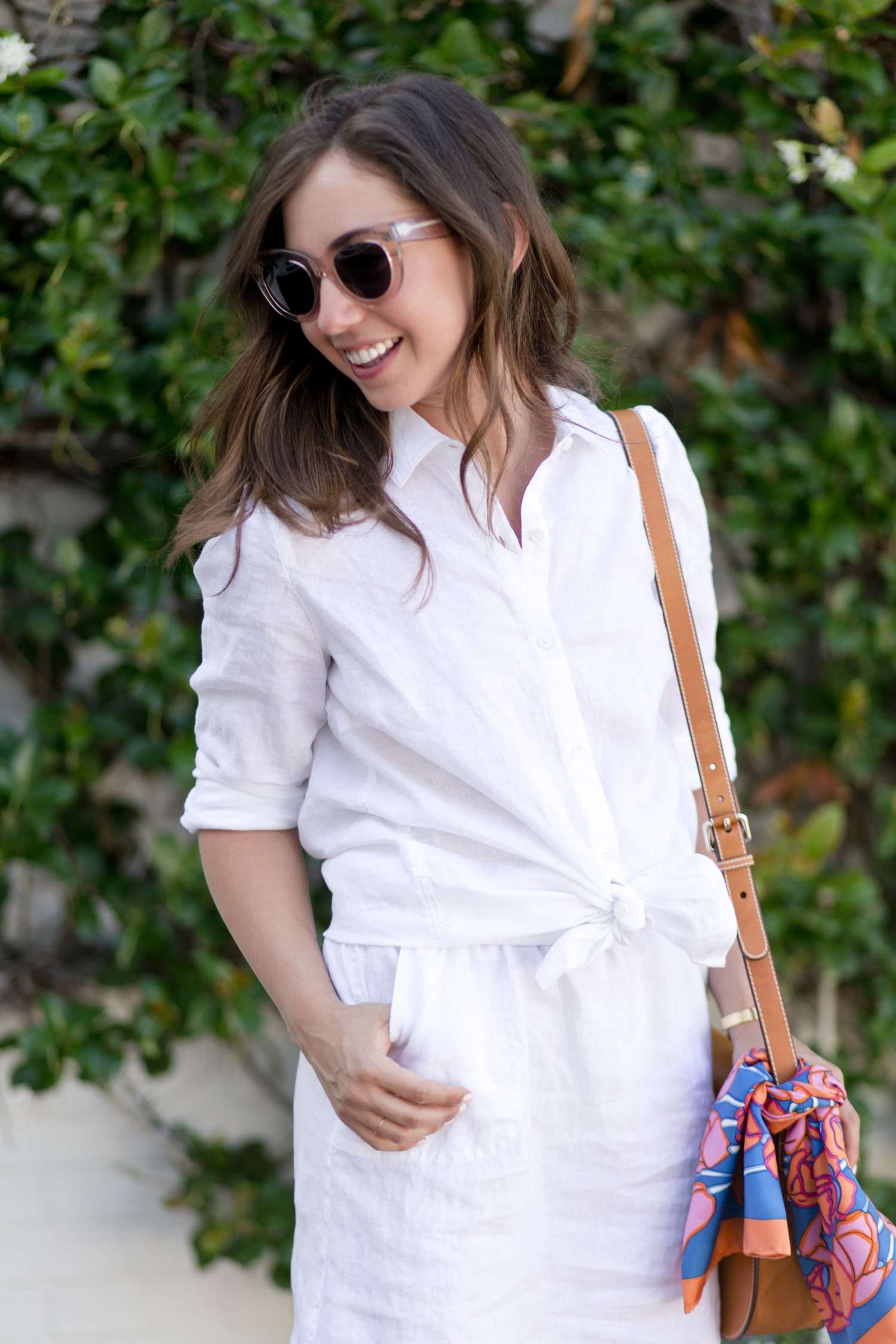 White Linen Shirt and Bright colored scarf