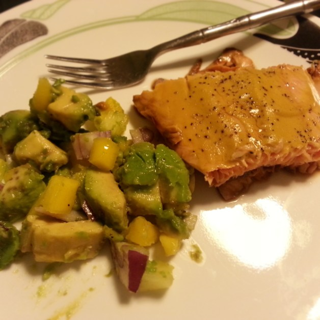 Homemade Mustard-baked Salmon with Mango-Pineapple and Avocado Salsa