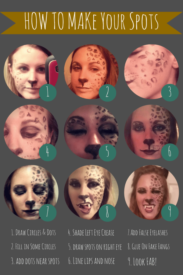 Leopard Costume Makeup Spots Step by Step