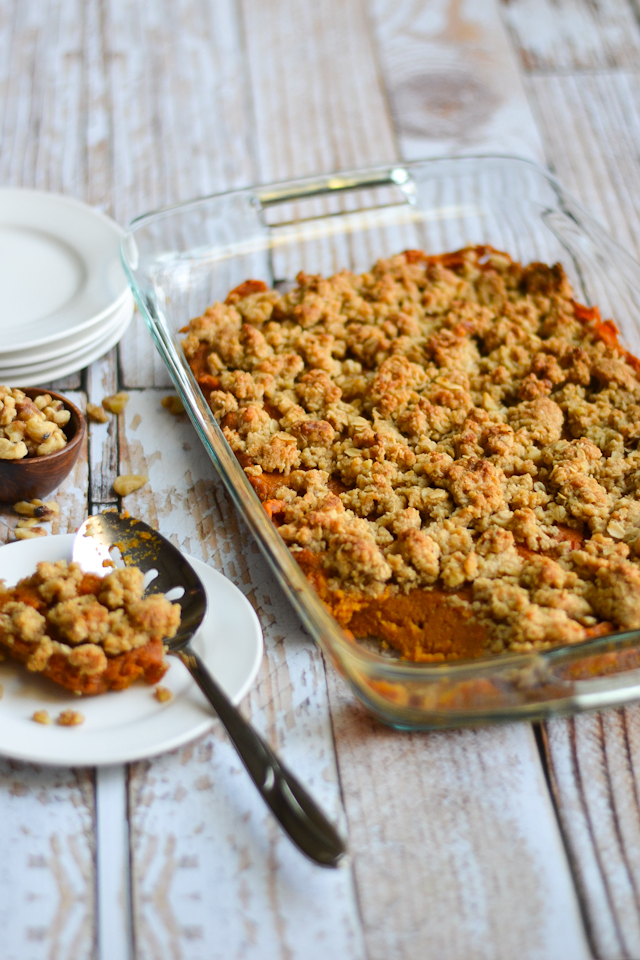 Warm, rich sweet potato filling topped with sweet, buttery streusel topping. Made with only real food ingredients!
