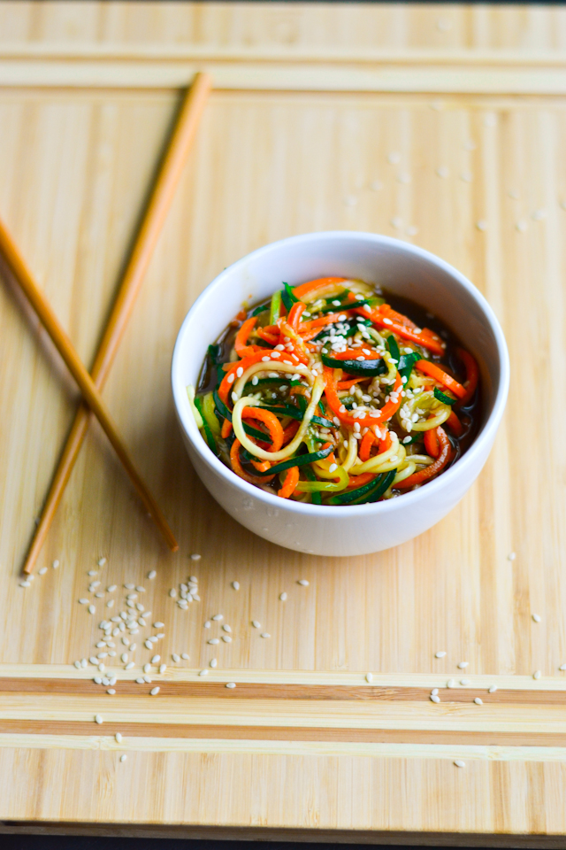 Zucchini and carrot noodles in a sweet teriyaki sauce!