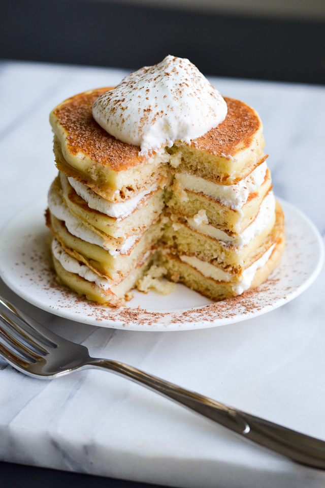These sweet, fluffy pancakes taste JUST like tiramisu!