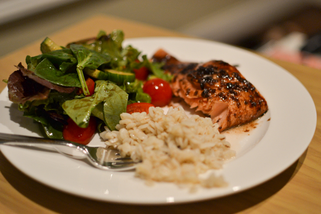 Spring mix salad, barley, balsamic glazed salmon