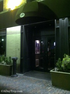 The entrance to Fritz Bar in the South End of Boston, a great place to grab drinks before a comedy show in Boston.