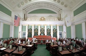 Inside of the Rhode Island State House you will find this impressive room called the Rhode Island Senate Chamber