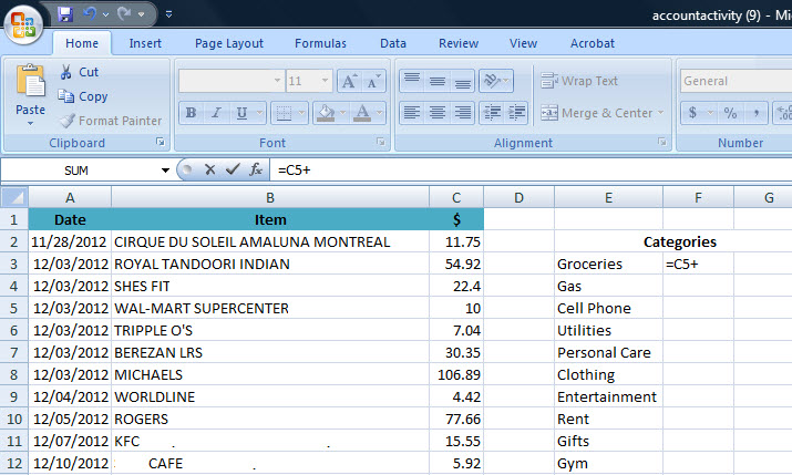 How to Track Your Spending in Excel