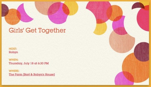 Hosting a Girls\u0027 Get Together - Add a Pinch - invitation for a get together