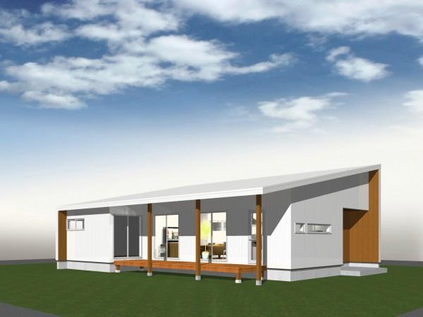 Add Home Designが提案する、平屋のコンセプトハウス「FLAT HOUSE  〜地の家〜」」は、「太陽光発電」にも最適な屋根の形状(片流れ屋根)をしています。
