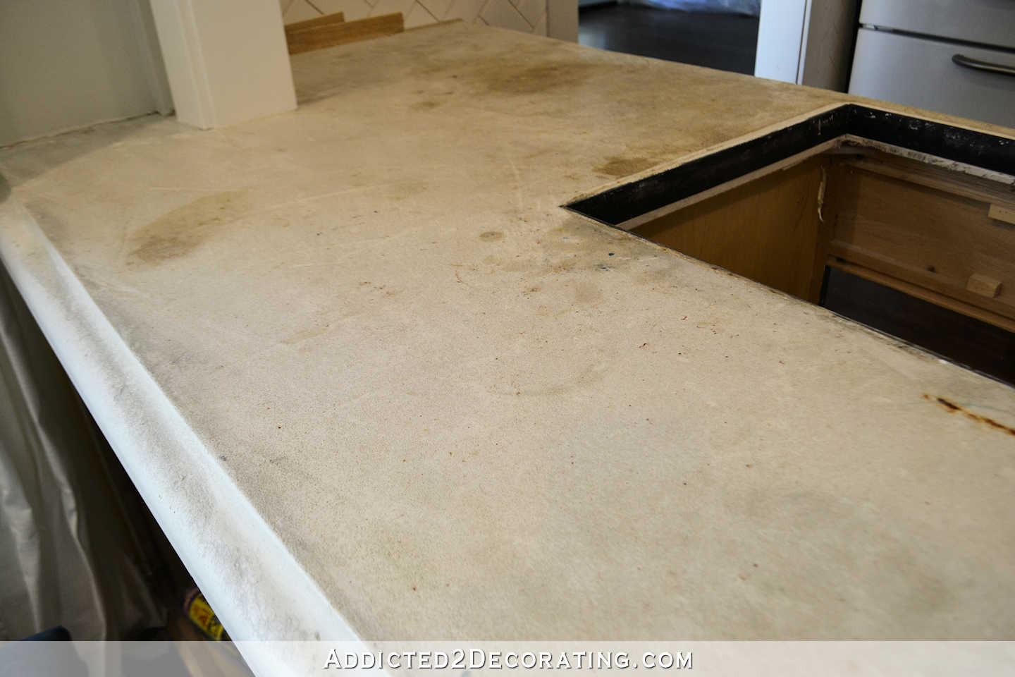 What Kind Of Concrete To Use For Countertops Refinishing My Concrete Kitchen Countertops Part 1