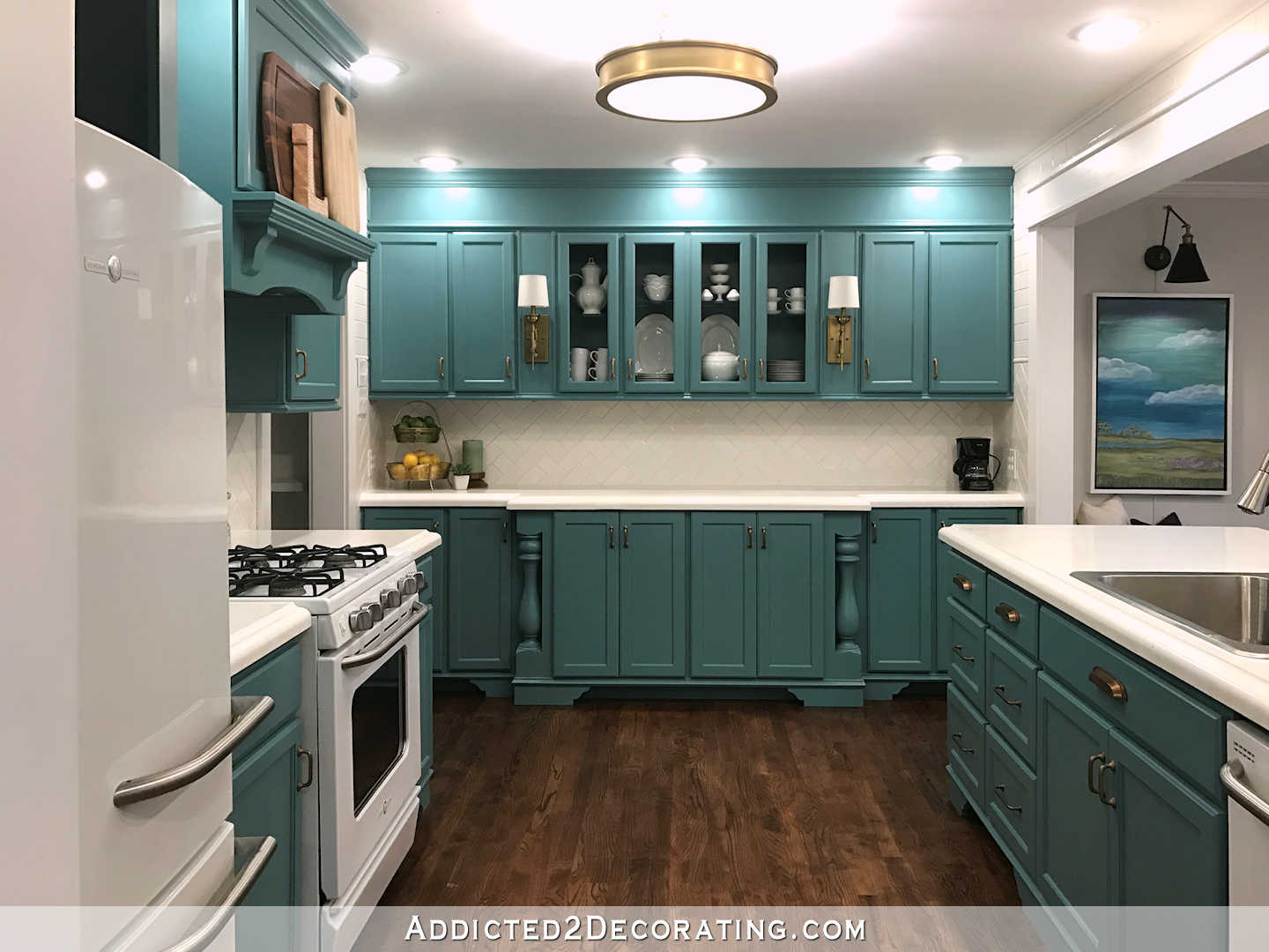 Teal Kitchen Decorating Ideas My Finished For Now Kitchen From Kelly Green To Teal
