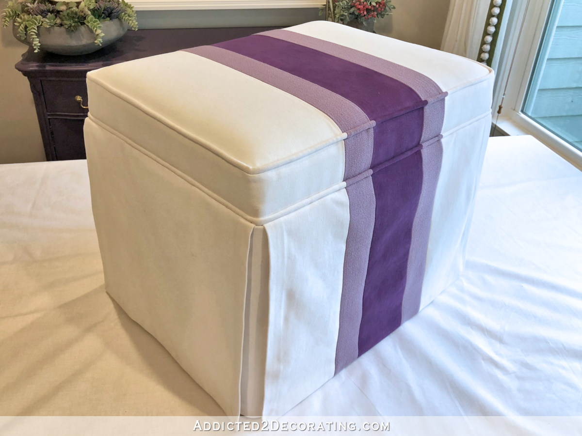 Ottoman Upholstery How To Upholster A Striped Skirted Ottoman Addicted 2 Decorating