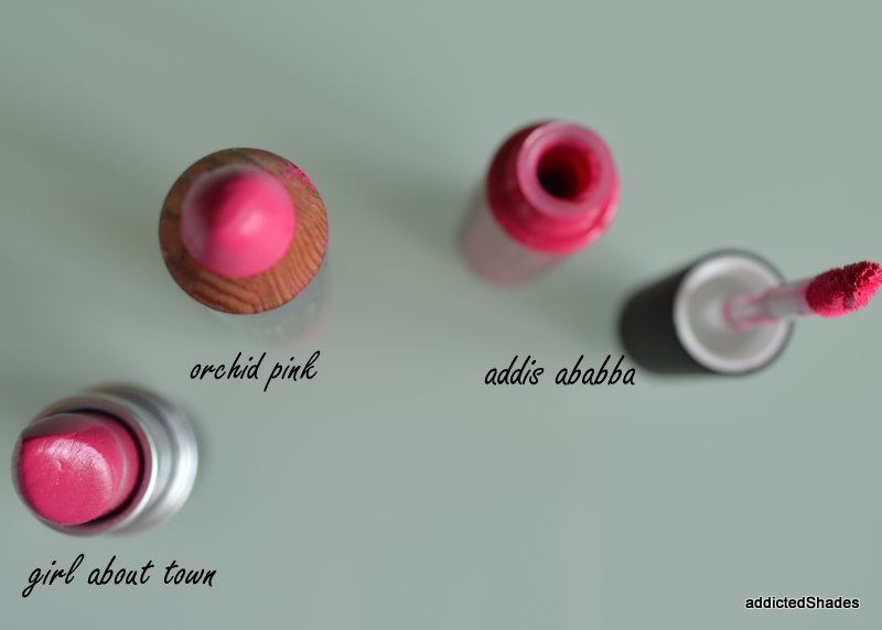 MAC Girl About Town, Colorbar Take Me As I Am, NYX Addis Ababa Swatches