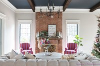 vintage-living-room-black-ceiling-brick-fireplace-dark ...