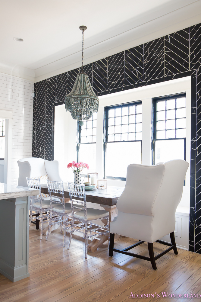 Black And White Wallpaper Living Room Breakfast Room Black Chevron Wall Tile White Wingback