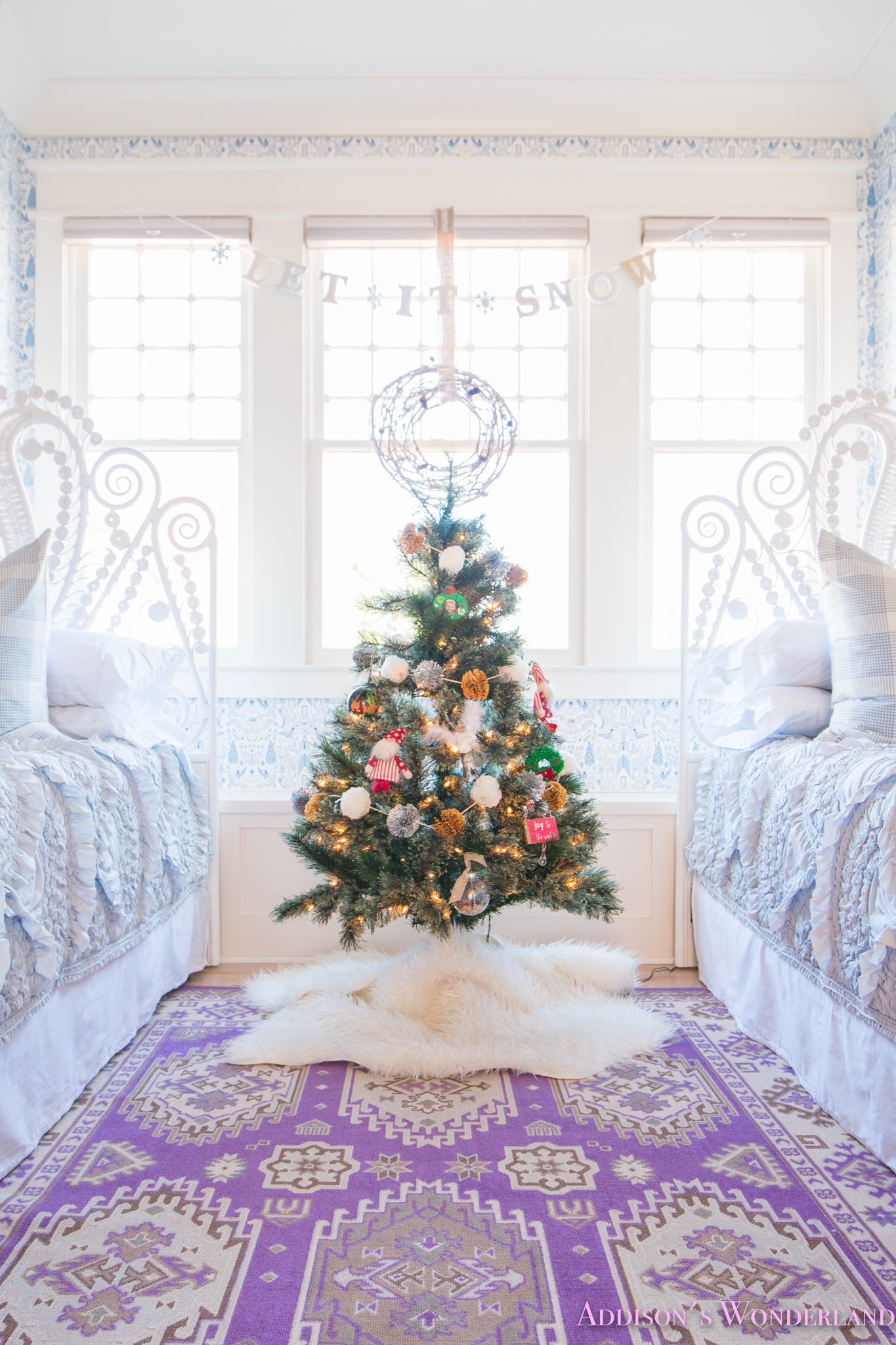 Christmas Bedroom Background A Blue And White Little Girl 39s Bedroom Decked Out For