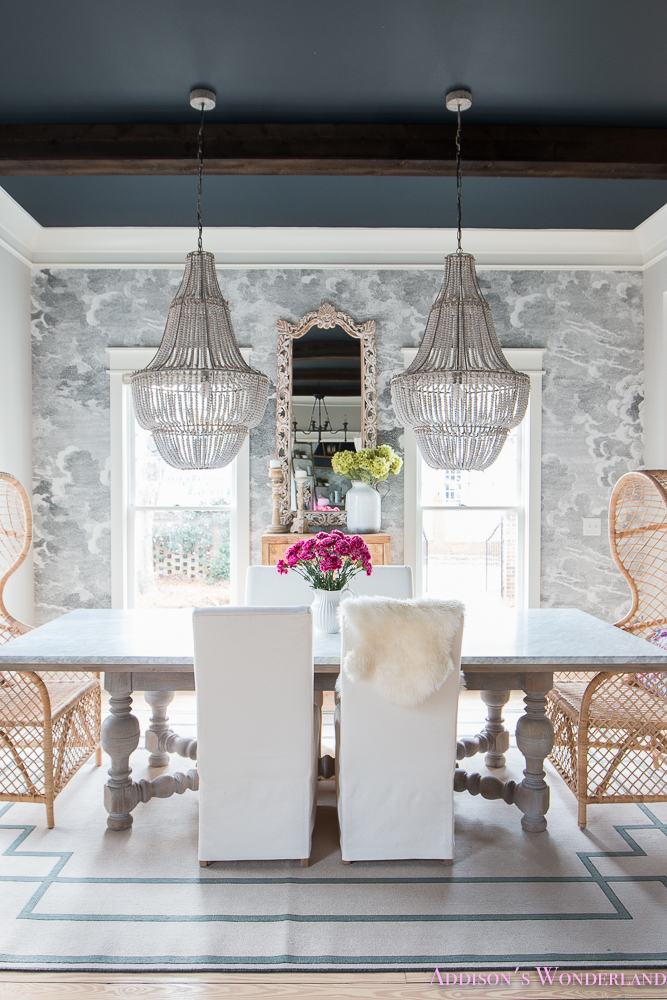 Fall Ceiling Wallpaper Our Elegant And Fun Vintage Boho Dining Room Reveal