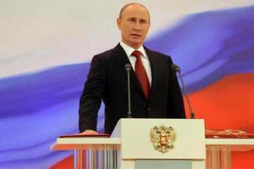 Vladimir Putin speaks during his during his inauguration ceremony that ushered him in as Russia's President for the third time
