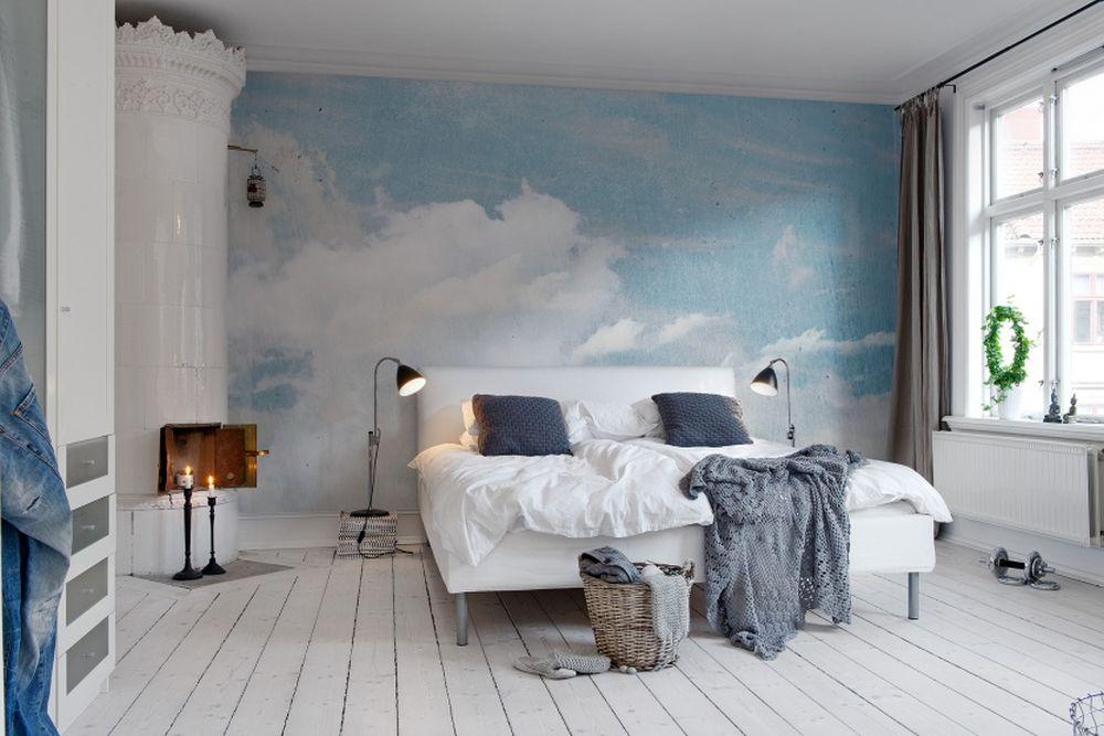 Tapet cu nori care arată ca o pictură murală
