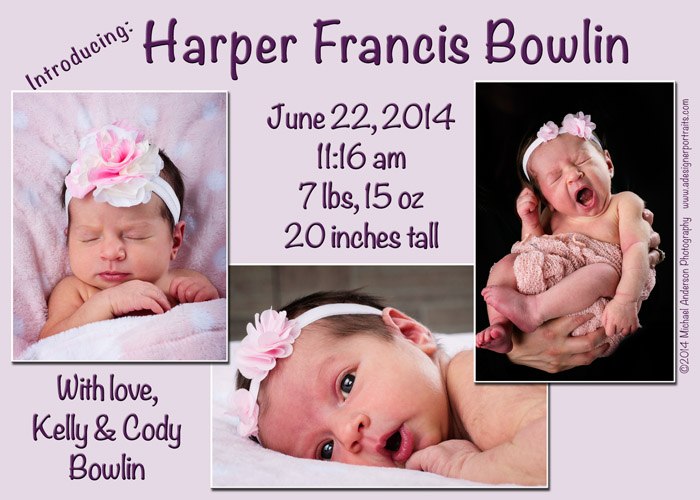 Mounds View MN Baby Photographer Newborn Baby Announcement Card