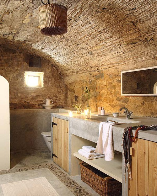 Bathroom Floors of River Rock
