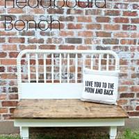 Farmhouse Headboard Bench | A Diamond in the Stuff
