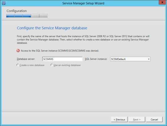 SCSM-MS Configure Service Manager Database Error 01