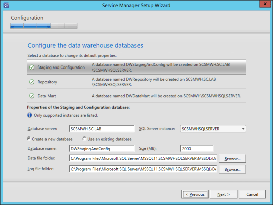 SCSM-WH Configure Data Warehouse Databases