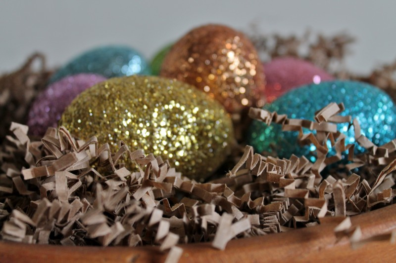 Vintage Dough Bowl with Glittery Easter eggs