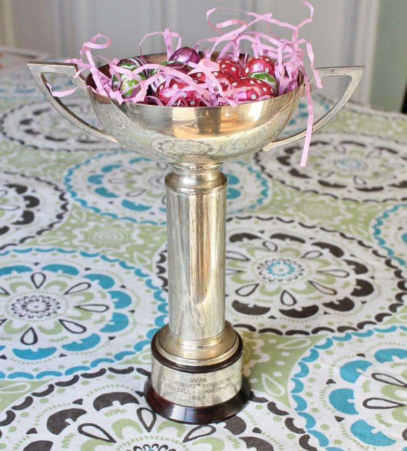 Vintage Trophy as Easter Basket