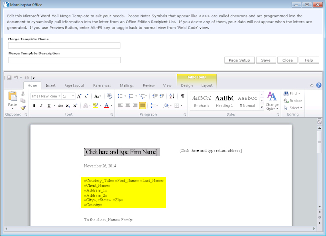 Creating a Mail Merge Template for Labels - mail merge template