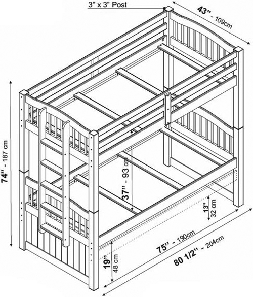 Palace Bunk Bed Palace Imports Triplet Twin/Twin Bunk Bed