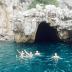 JCU students swim near a cave on Capri's coast.