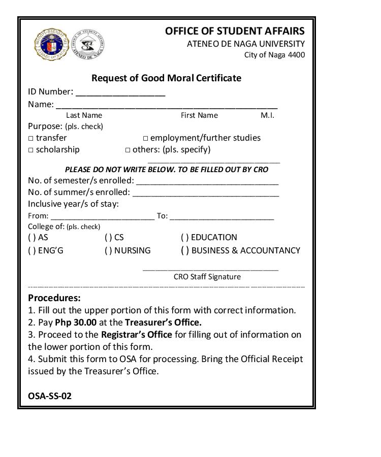 Request of Good Moral Certificate Office of Student Affairs - student request form
