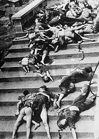 05 Jun 1941, Chungking, China --- Casualties of a mass panic. During a Japanese air raid, 4,000 people were trampled or suffocated to death trying to return to shelters in Chungking, China, --- Image by © CORBIS