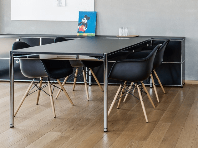 Table Pliante Et Chaise Table Usm Haller Noire D'occasion 200 X 100 - Adopte Un Bureau