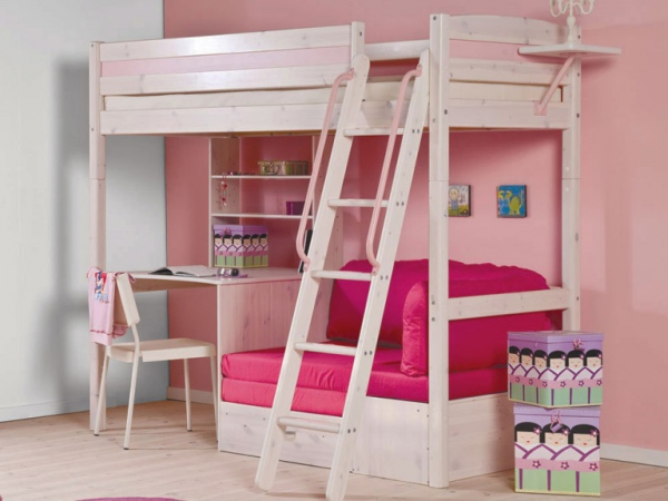Bureau Ado Fille Children's High Sleeper Beds – Adorable Home