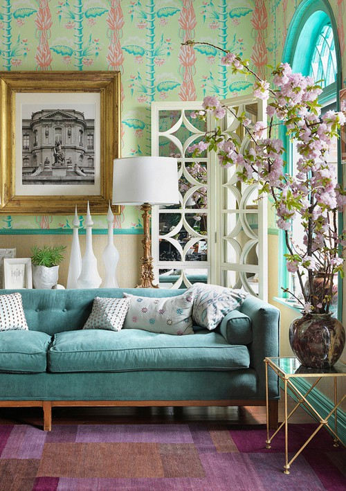 Grey Sofa Teal Walls Colorful Living Room Designs – Adorable Home