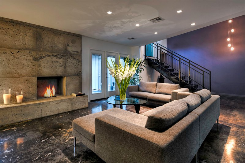 Modern Grey Living Room With Concrete Fireplace