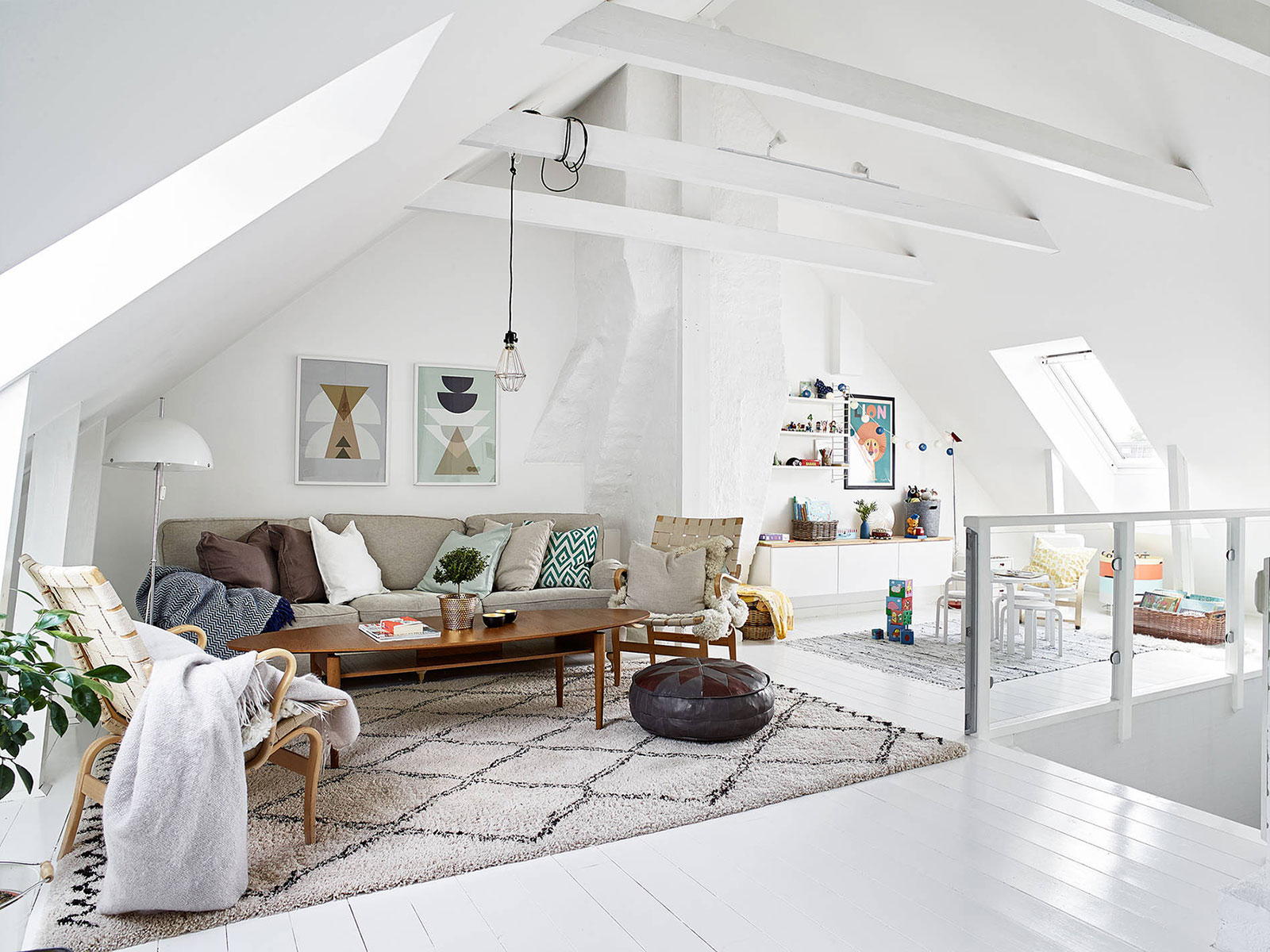 Scandinavian Style Living Room Scandinavian Style Attic Living Room