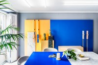 Blue and yellow office space