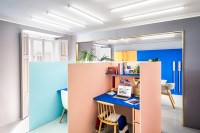 Colorful office cubicles