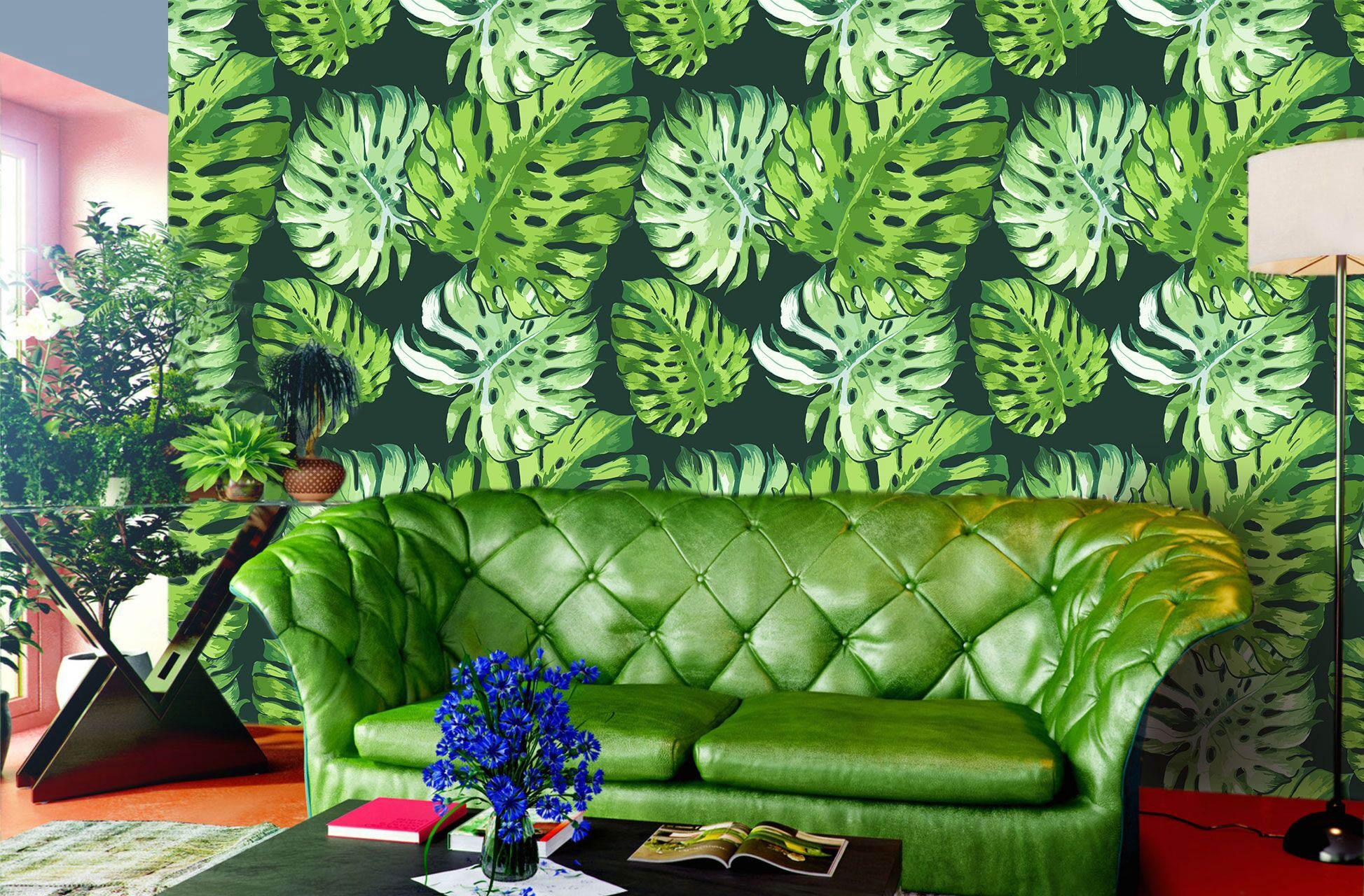 Black And White Leaf Wallpaper Green Tropical Wallpaper Design