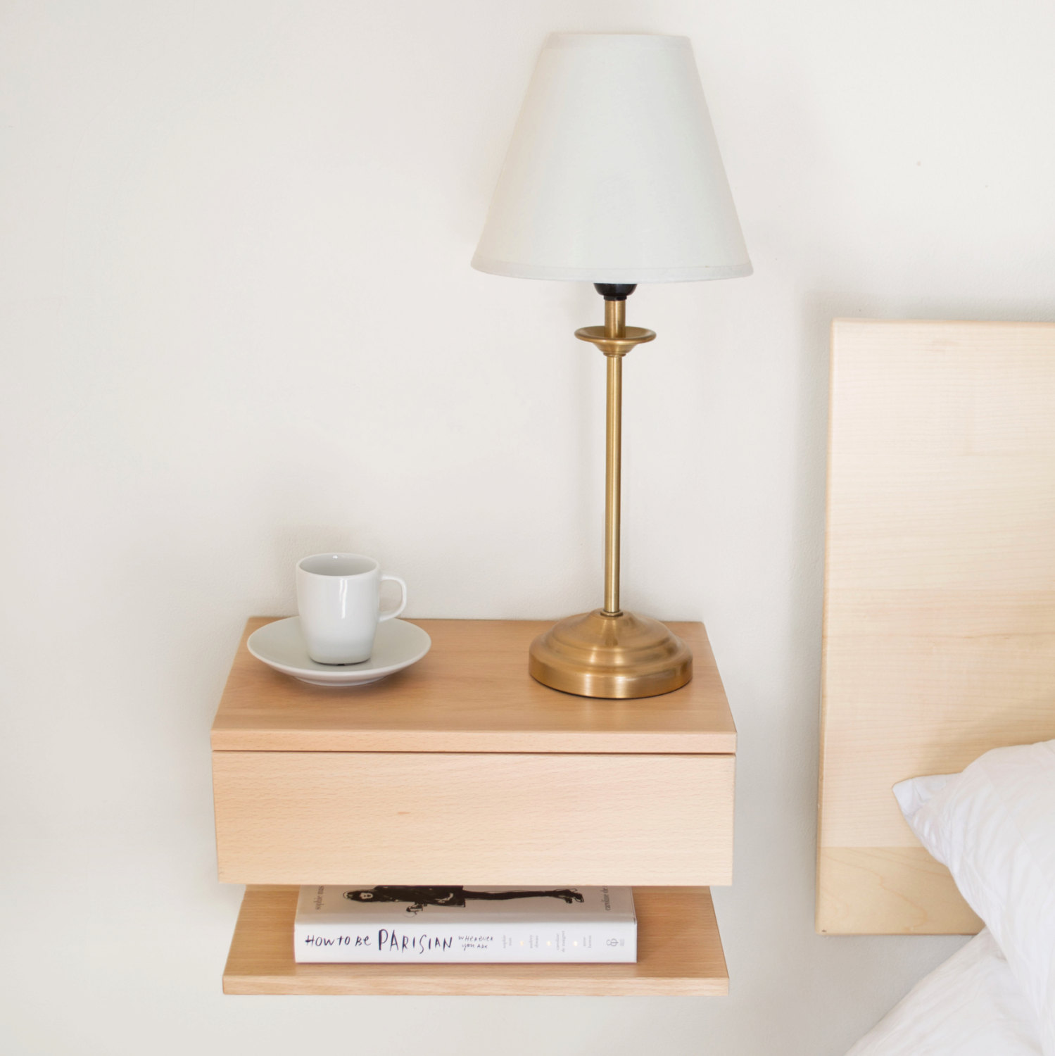 Small Bedside Table Clocks Wooden Floating Bedside Table