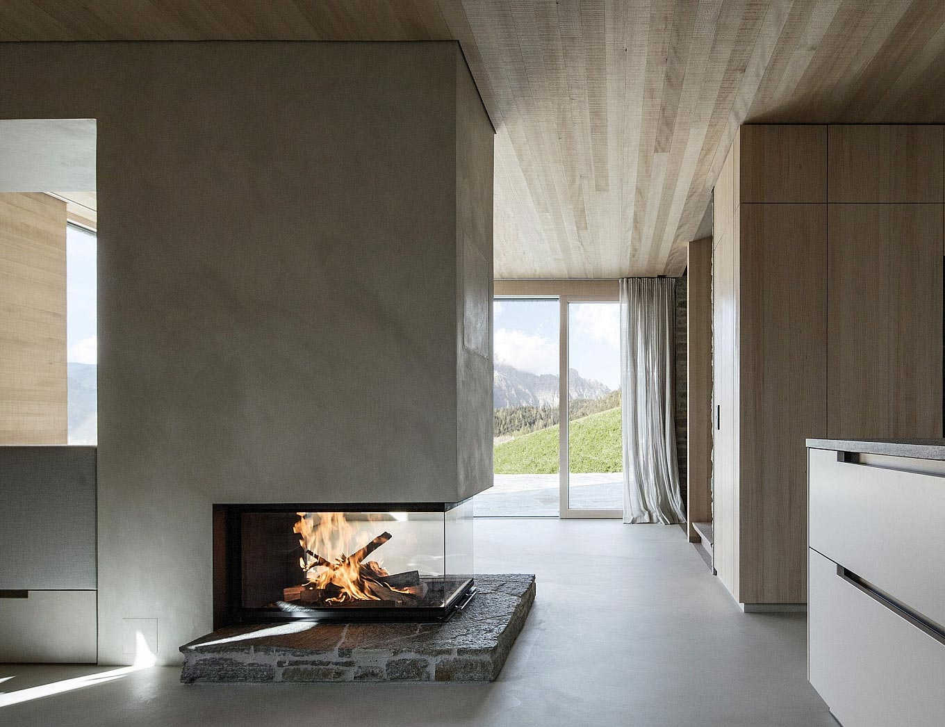 Living Room Wall Ideas Minimalist Concrete Fireplace In A Striking Home Situated