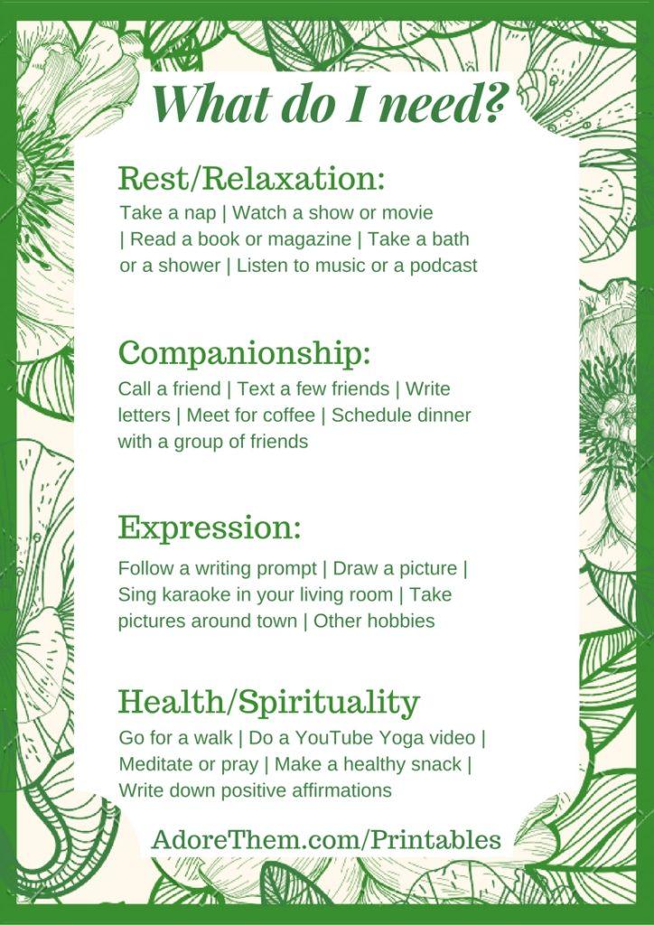 What Do I Need? (A Self Care Printable) - Adore Them